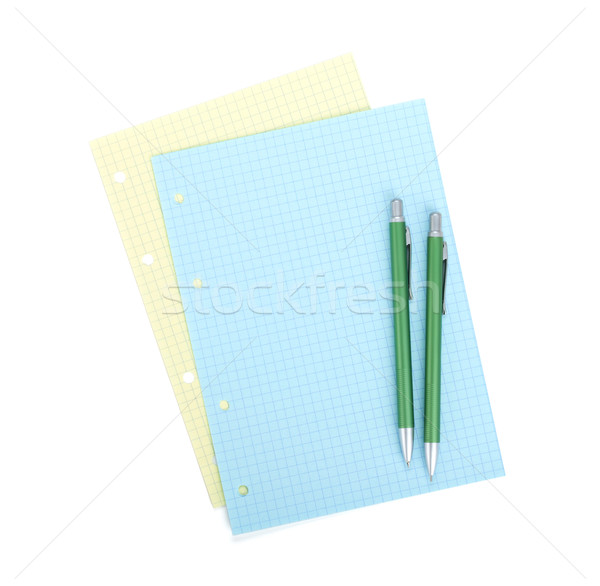 Blank notepapers, pencil and pen Stock photo © karandaev