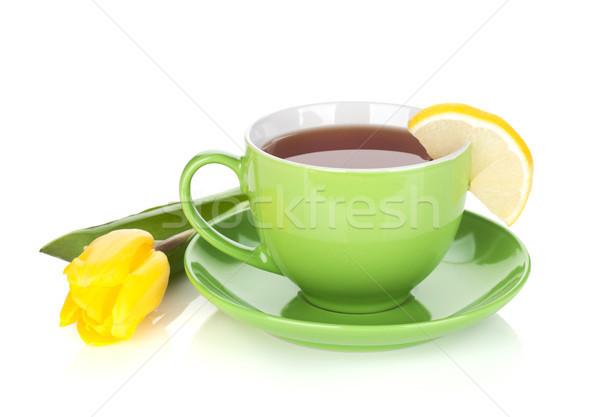 Zöld tea csésze citromsárga tulipán izolált fehér Stock fotó © karandaev