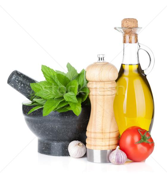 Friss gyógynövények fűszer olívaolaj bors shaker Stock fotó © karandaev