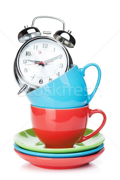 Las tazas de café despertador aislado blanco alimentos cara Foto stock © karandaev