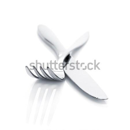 столовое серебро набор вилка ножом изолированный белый Сток-фото © karandaev