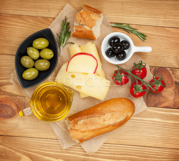 Stock photo: Fresh cheese, bread olives and tomatoes