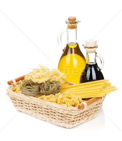 Pasta olio d'oliva aceto isolato bianco sfondo Foto d'archivio © karandaev