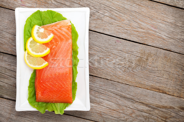 Foto stock: Fresco · salmão · peixe · limão · salada · folhas