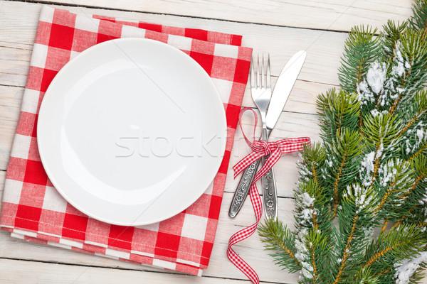 üres tányér ezüst étkészlet karácsonyfa felülnézet fehér Stock fotó © karandaev