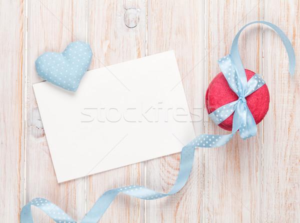 Photo frame or greeting card, macarons and handmaded toy heart Stock photo © karandaev