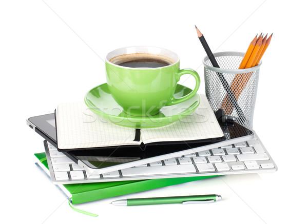 緑 コーヒーカップ 事務用品 孤立した 白 ビジネス ストックフォト © karandaev