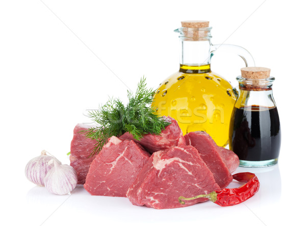 Stock photo: Fillet steak beef meat with spices and condiments