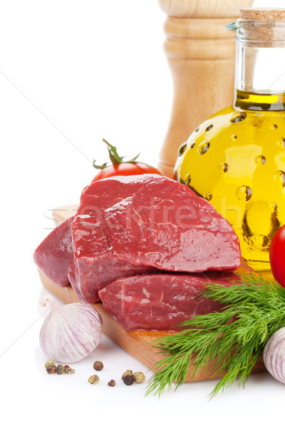 Raw fillet beef steak and spices on cutting board Stock photo © karandaev