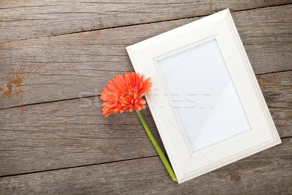 フォトフレーム オレンジ 木製のテーブル 花 自然 歳の誕生日 ストックフォト © karandaev