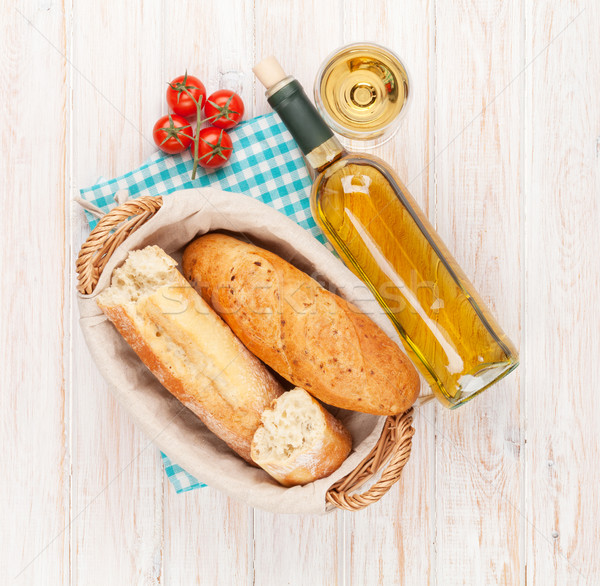 White wine and bread Stock photo © karandaev