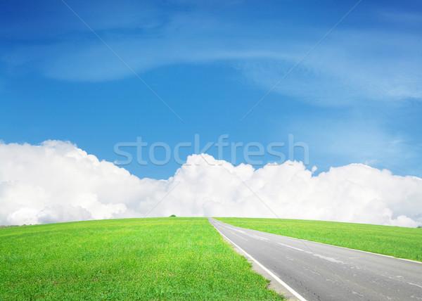 асфальт дороги зеленый области небе облака Сток-фото © karandaev