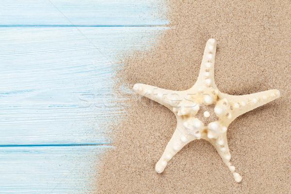 Photo stock: Mer · sable · starfish · table · en · bois · haut · vue