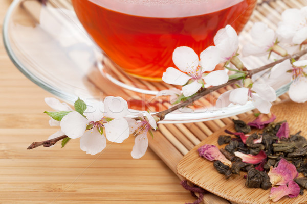 Japonais thé vert sakura branche bambou table Photo stock © karandaev