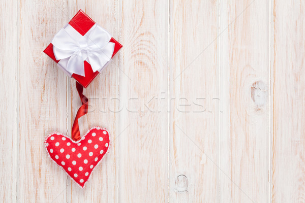 Valentines day handmaded toy heart and gift box Stock photo © karandaev