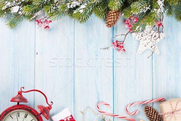 Stok fotoğraf: Noel · ağacı · çalar · saat · hediye · Noel · ahşap · kar