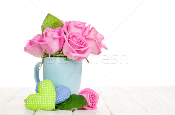 Stock photo: Valentines day pink roses bouquet and handmaded toy hearts