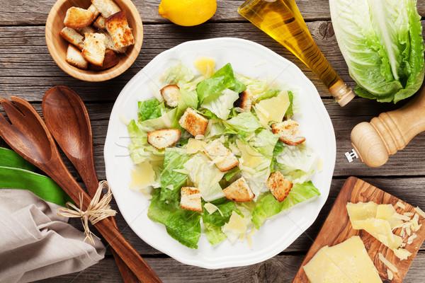 新鮮な 健康 シーザーサラダ 料理 木製のテーブル 先頭 ストックフォト © karandaev