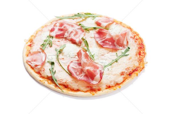 Pizza prosciutto mozzarella aislado blanco queso Foto stock © karandaev