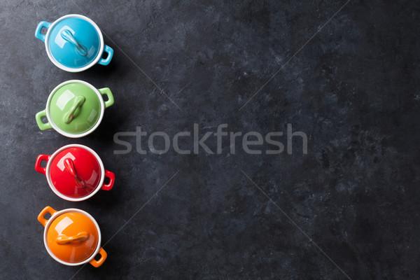 Kolorowy kamień tabeli górę widoku kopia przestrzeń Zdjęcia stock © karandaev