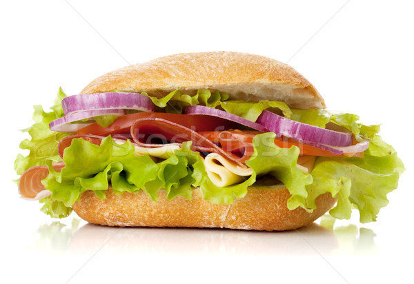 Foto stock: Pequeno · sanduíche · presunto · queijo · tomates