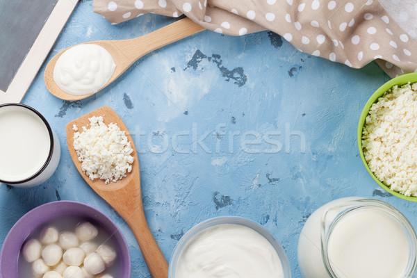 Stok fotoğraf: Taş · tablo · ekşi · krema · süt · peynir