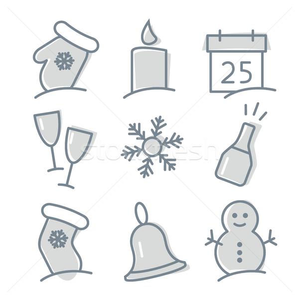 Stock fotó: Karácsony · ikon · gyűjtemény · végtelen · minta · karácsony · tél · ünnepek