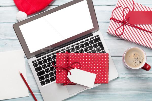Stock fotó: Karácsony · ajándékdobozok · pc · kávéscsésze · fa · laptop