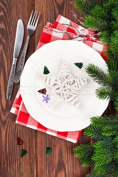 Karácsony asztal fenyőfa felső kilátás fa Stock fotó © karandaev