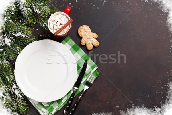 Noël dîner plaque argenterie chocolat chaud Photo stock © karandaev