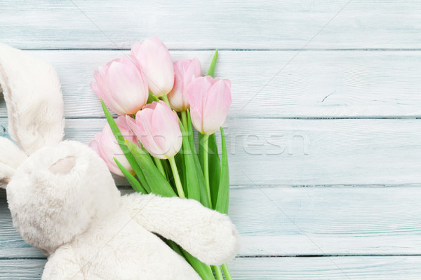 Pink tulips and rabbit. Easter card Stock photo © karandaev