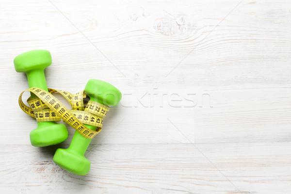 ストックフォト: 巻き尺 · 木製のテーブル · コピースペース · フィットネス · 健康 · スポーツ