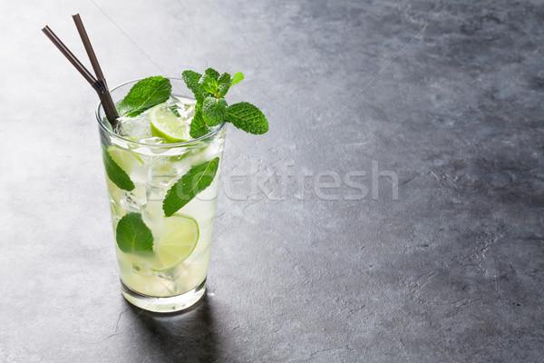 Mojito cocktail buio pietra tavola copia spazio Foto d'archivio © karandaev