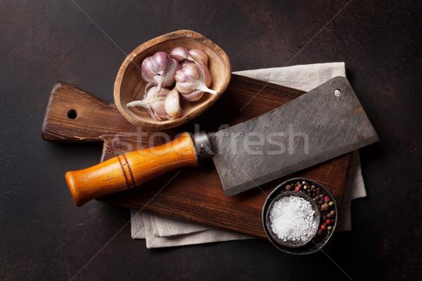 Slager vintage vlees mes specerijen steen Stockfoto © karandaev