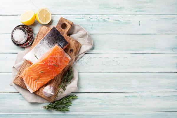 Salmão peixe filé temperos cozinhar Foto stock © karandaev
