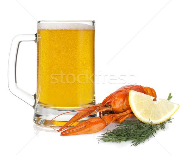 Beer mug and boiled crayfish Stock photo © karandaev