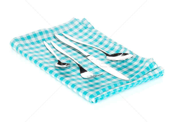 Silverware or flatware set of fork, spoons and knife on towel Stock photo © karandaev