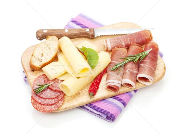 Peynir prosciutto ekmek sebze baharatlar yalıtılmış Stok fotoğraf © karandaev