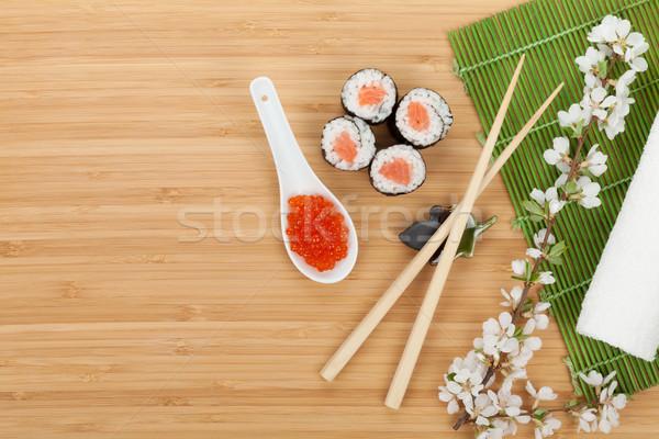 Sushi ayarlamak havyar taze sakura şube Stok fotoğraf © karandaev