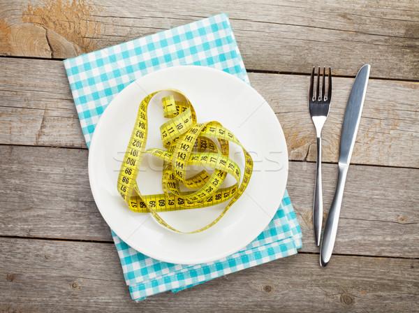 Plaka şerit metre bıçak çatal diyet gıda Stok fotoğraf © karandaev