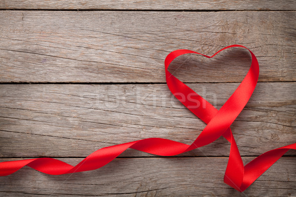 Valentines day heart shaped red ribbon Stock photo © karandaev