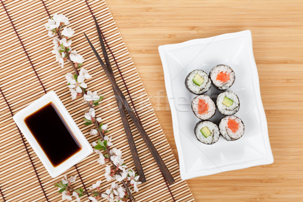 Sushi maki set sakura ramo bambù Foto d'archivio © karandaev