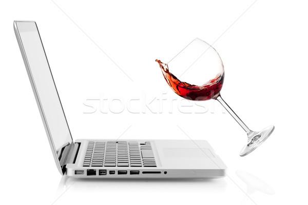 ワイン 下がり ノートパソコン 孤立した 白 オフィス ストックフォト © karandaev