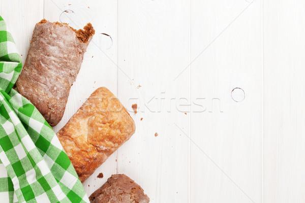 White and brown ciabatta Stock photo © karandaev