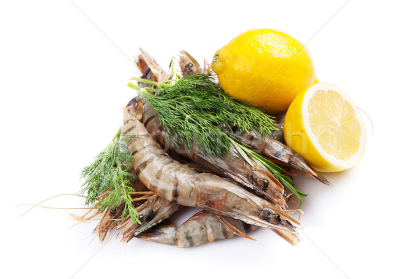 Fresh raw tiger prawns and spices Stock photo © karandaev