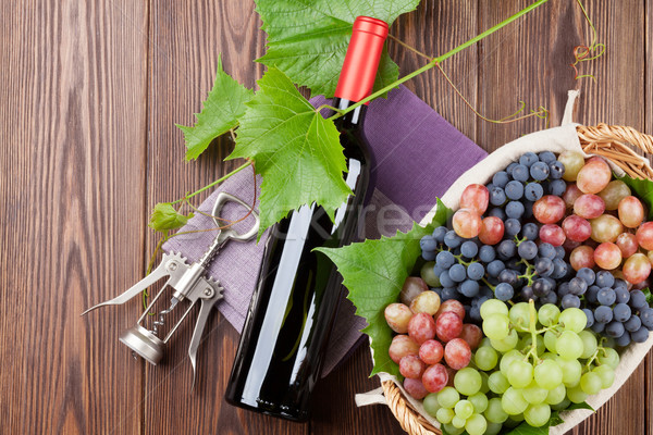 Bunch of grapes, red wine and corkscrew Stock photo © karandaev