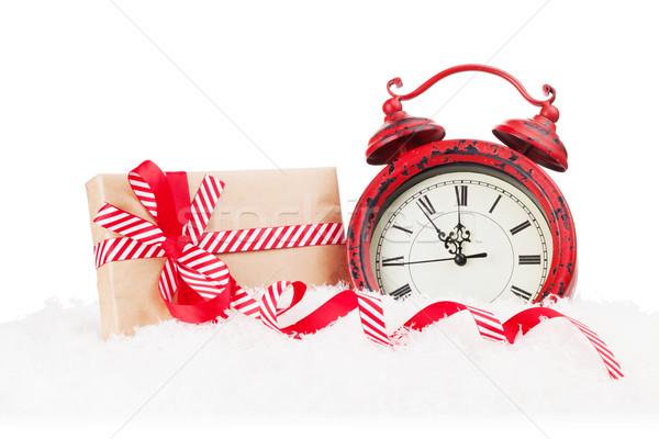 Karácsony ajándék doboz ébresztőóra hó ajándék izolált Stock fotó © karandaev