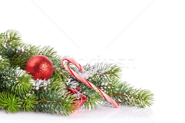 Stock fotó: Karácsonyfa · ág · hó · dekoráció · izolált · fehér