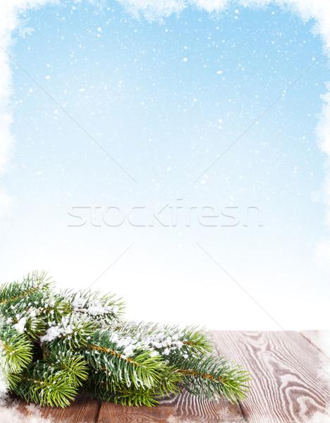 Сток-фото: рождественская · елка · деревянный · стол · снега · филиала · копия · пространства · дерево