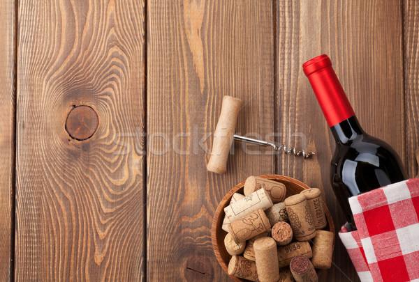 赤ワイン ボトル ボウル コークスクリュー 素朴な ストックフォト © karandaev